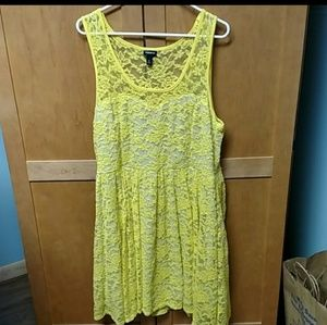 Torrid yellow stretch lace overlay dress 2x